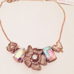 Betsey Johnson White Flower Opal Crystal Necklace